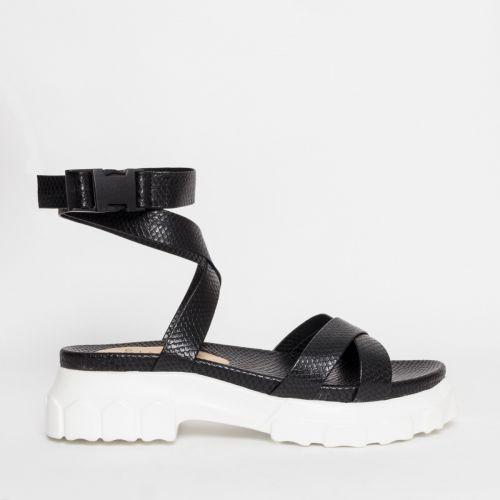 Shiloh Black Snake Chunky Sandals