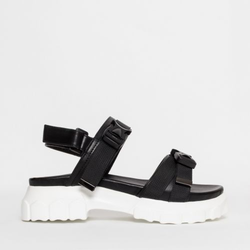 Shana Black Chunky Buckle Sandals