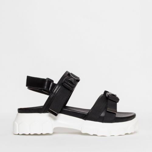 Shana Black Chunky Buckle Sandals