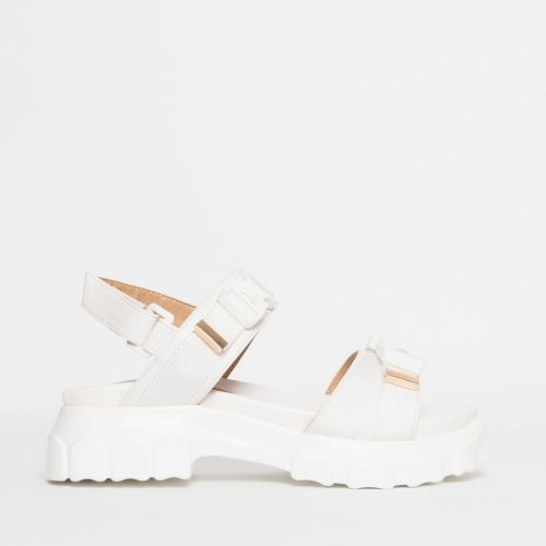Shana White Chunky Buckle Sandals