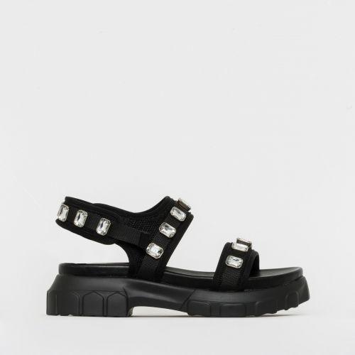 Deesha Black Mesh Gem Chunky Sandals