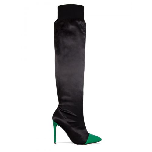 Sena Black and Green Satin Thigh High Boots