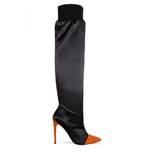Sena Black and Orange Satin Thigh High Boots
