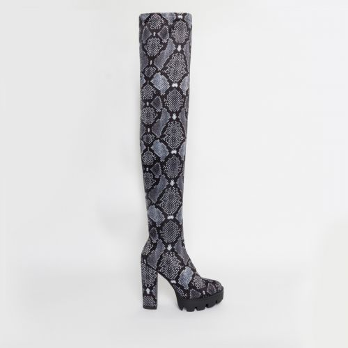 Stormi Grey Snake Lycra Thigh High Boots