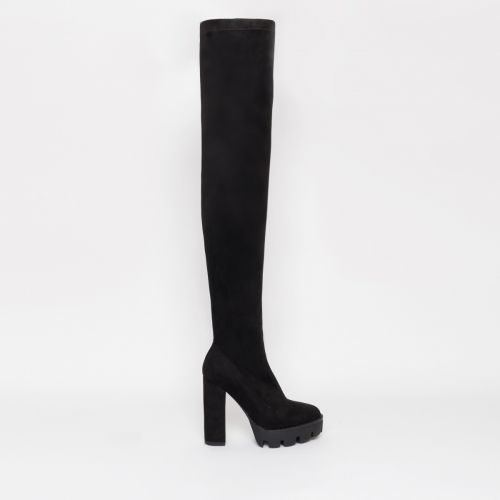 Stormi Black Suede Platform Thigh High Boots
