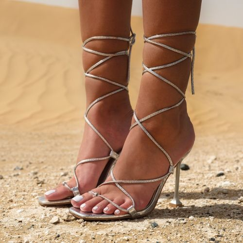 SONIA X FYZA Sunset Silver Snake Print Lace Up Heels