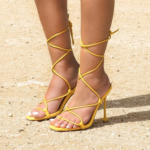 SONIA X FYZA Sunset Yellow Snake Print Lace Up Heels