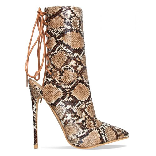 Selene Beige Snake Lace Up Pointed Toe Ankle Boots