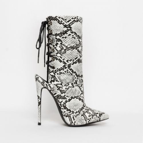 Selene Black and White Snake Lace Up Pointed Toe Ankle Boots