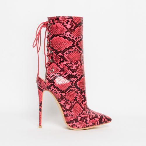 Selene Pink Snake Lace Up Pointed Toe Ankle Boots