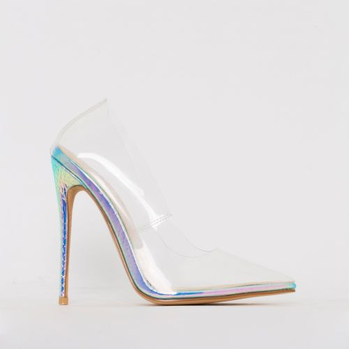 Simone Rainbow Snake Print Clear Stiletto Court Shoes