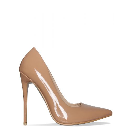 Imani Coffee Patent Stiletto Court Shoes