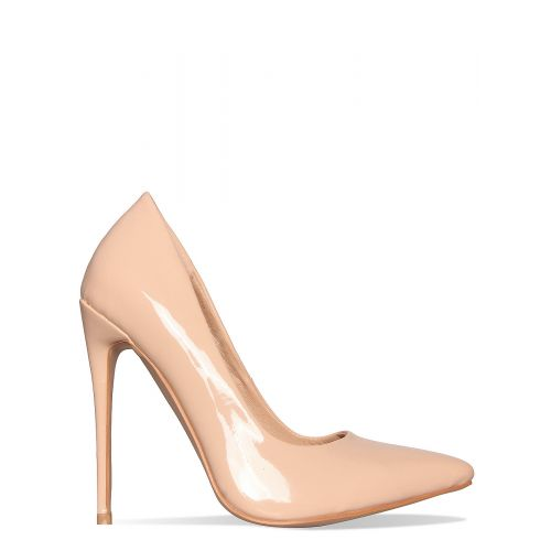 Imani Latte Patent Stiletto Court Shoes