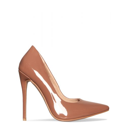 Imani Cocoa Patent Stiletto Court Shoes