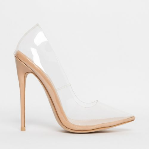 Simone Nude Clear Stiletto Court Shoes