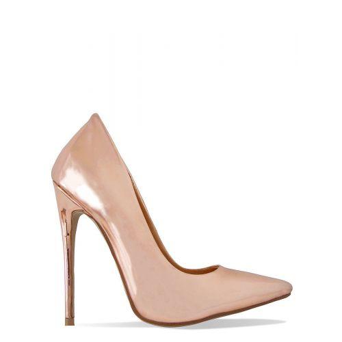 Simone Rose Gold Metallic Stiletto Court Shoes