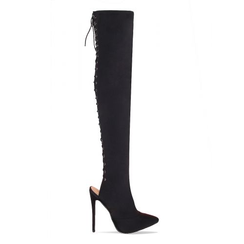 Scarlett Black Lycra Lace Up Thigh High Boots
