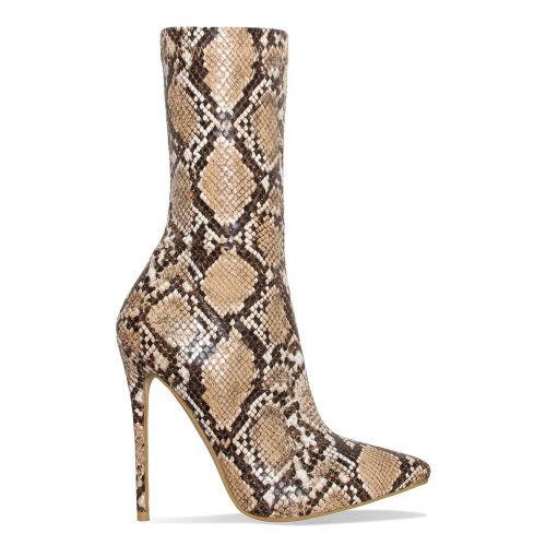 Jadah Beige Snake Pointed Toe Ankle Boots