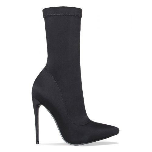 Jadah Black Lycra Pointed Toe Ankle Boots