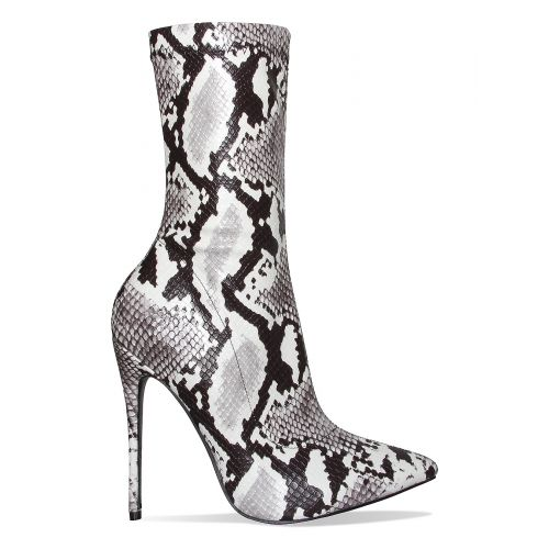 Jadah Black and White Snake Pointed Toe Ankle Boots