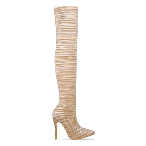 Shelby Beige Velvet Rib Thigh High Boots
