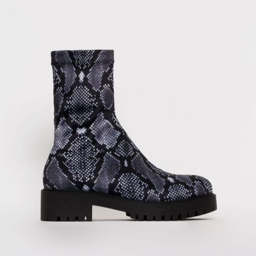 Tae Dark Grey Python Print Lycra Flat Ankle Boots