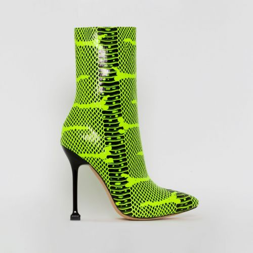Peyton Green Python Print Stiletto Ankle Boots