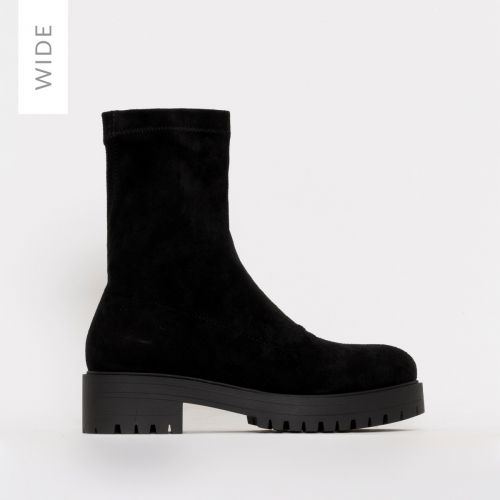 Tae Wide Fit Black Lycra Flat Ankle Boots