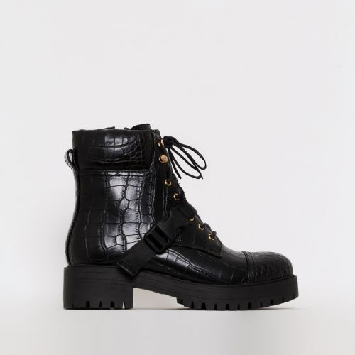 Tamsin Black Croc Print Lace Up Flat Ankle Boots