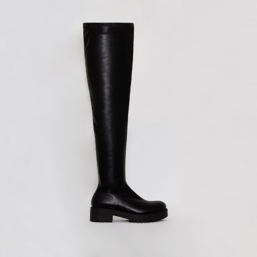 Tamia Black Stretch Flat Over the Knee Boots
