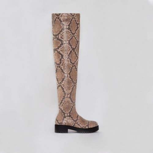 Tamia Beige Snake Print Flat Over the Knee Boots