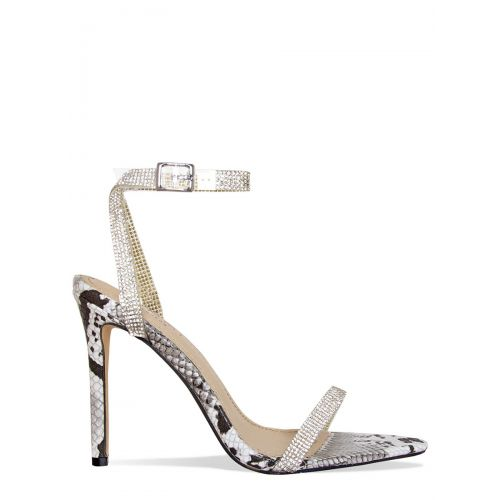 Trixie Black and White Snake Clear Diamante Heels