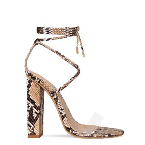 Tifany Beige Snake Clear Lace Up Block Heels