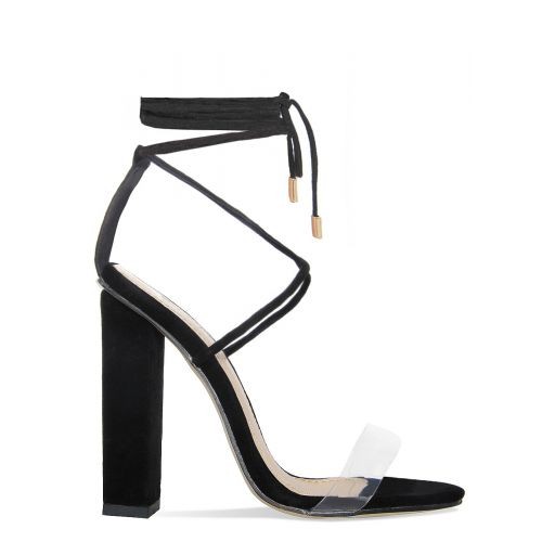 Tifany Black Suede Clear Lace Up Block Heels