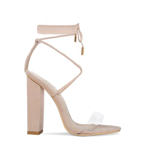 Tifany Nude Suede Clear Lace Up Block Heels