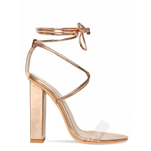 Tifany Rose Gold Clear Lace Up Block Heels