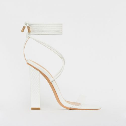 Tifany White Snake Clear Lace Up Block Heels