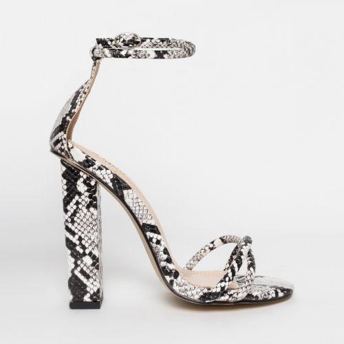 Shanice Black Snake Block Heels