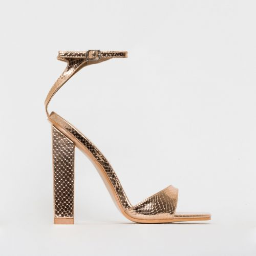 India Rose Gold Snake Print Block Heels