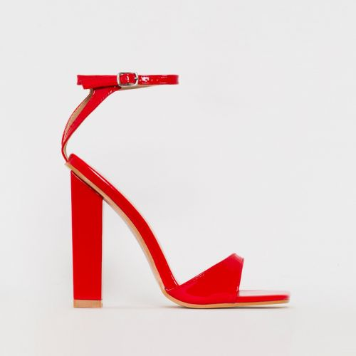India Red Patent Block Heels