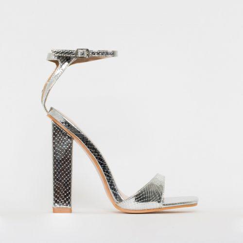 India Silver Snake Print Block Heels