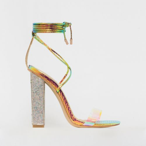 Karla Rose Iridescent Snake Print Lace Up Diamante Block Heels