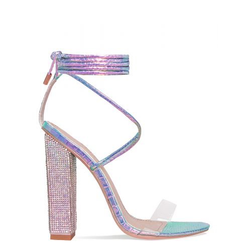 Karla Rainbow Snake Clear Lace Up Diamante Heels