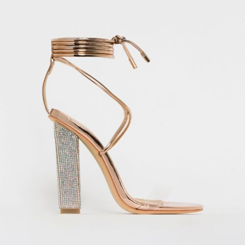 Karla Rose Gold Clear Lace Up Diamante Heels