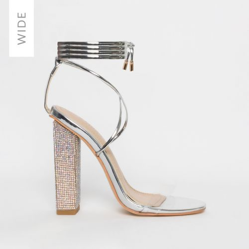 Karla Wide Fit Silver Clear Lace Up Diamante Block Heels