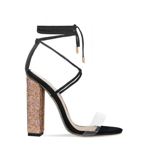 Tula Black Suede Clear Lace Up Diamante Block Heels