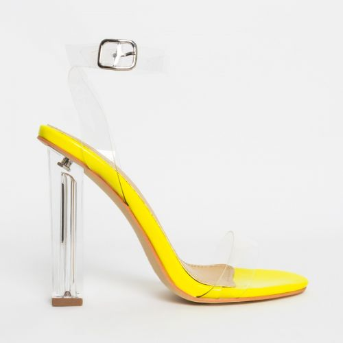 Vera Yellow Patent Clear Block Heels