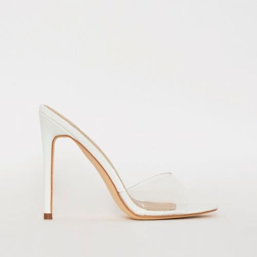 Jules White Snake Print Clear Stiletto Mules