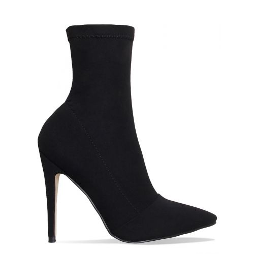 Tegan Black Suede Pointed Toe Ankle Boots