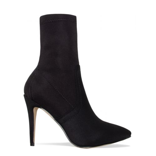 Angie Black Ribbed Stiletto Ankle Boots
